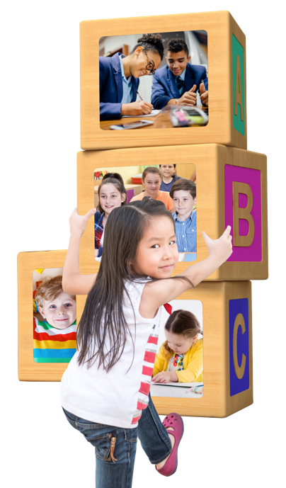 social mobility - child climbing wooden blocks