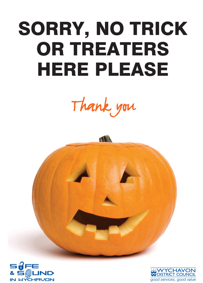 No trick or treaters poster