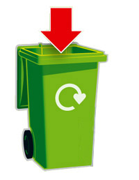 Recycling bin with arrow