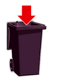 Waste bin with arrow